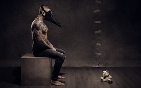 Picture people, mask, bear