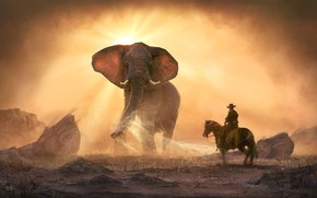 Picture sand, stones, elephant, rider, Chasing twisters
