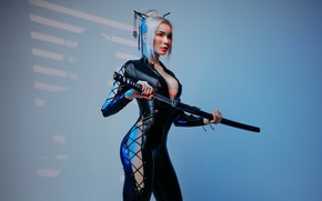 Picture pose, background, model, katana, makeup, figure, hairstyle, blonde, costume, outfit, beauty, is, in black, cosplay, …
