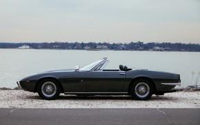 Picture black, shore, Maserati, 1969, Roadster, side, spider, Ghibli Spider