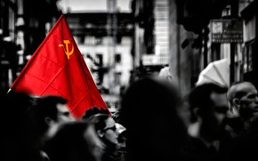 Picture monochrome, demonstration, red flag, The world! Work! May!, MAY 1