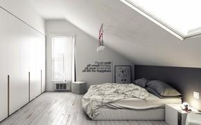 Picture design, interior, mansarda, attic bedroom
