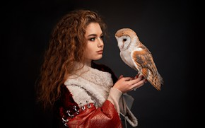 Picture girl, owl, bird, portrait, makeup, curls, the barn owl, the dark background, Alina Zaslavska, Gregory ...