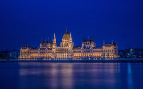 Picture river, the building, architecture, night city, Hungary, Hungary, Budapest, Budapest, Danube River, The Hungarian Parliament …