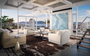 Picture grand penthouse, Pacific Heights, interior, megapolis, living room, San Francisco