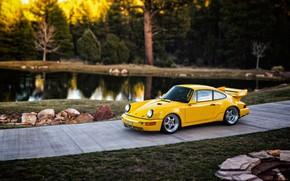 Picture Auto, Yellow, 911, Porsche, Pond, Machine, Porsche 911, Carrera, RSR, 1993, Porsche 911 Carrera, 911 …