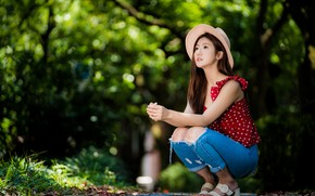 Picture girl, pose, jeans, hat, Asian, cutie, bokeh