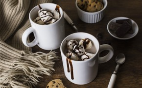 Picture chocolate, scarf, ice cream, dessert, Chocolate, cocoa