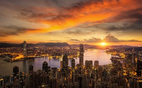 Picture water, sunset, the city, Hong Kong, China