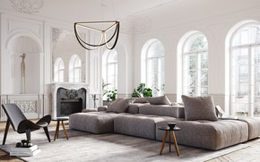 Picture style, interior, fireplace, living room, dichain