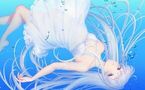 Picture Water, Girl, Bubbles, Long hair, sakura shiho, shihoncake