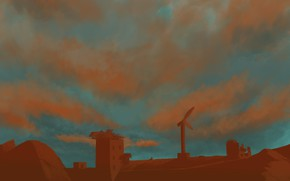Picture sunset, house, figure, заброшеные дома