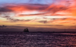 Picture sea, sunset, sailboat
