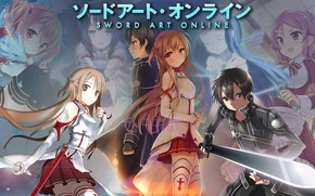 Picture collage, anime, art, Sword art online, Sword Art Online, Asuna, Kirito