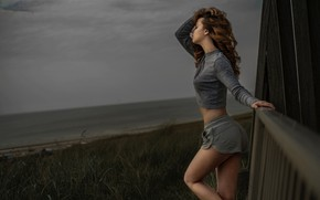 Picture grass, girl, pose, hair, the evening, figure, Barlise Photography