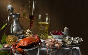 Picture cherry, wine, glass, crab, still life, shrimp, oysters