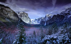 Picture winter, clouds, snow, trees, landscape, mountains, nature, USA, Yosemite, forest, reserve, Yosemite national Park