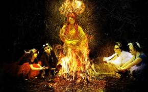 Picture children, girls, the fire, photoart