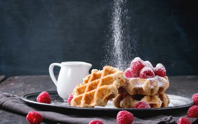 Picture berries, raspberry, waffles, powdered sugar, Natasha Breen