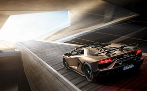 Picture machine, light, Lamborghini, lights, spoiler, sports car, drives, roadster, Aventador, SVJ