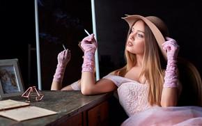 Picture girl, pose, table, photo, hat, hands, dress, cigarette, gloves, Sergey Olszewski, Kate Kotaro