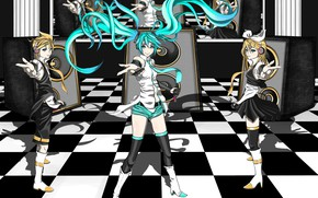 Picture girl, dynamics, guy, Vocaloid, Vocaloid, kalonki, Hatsune Miku, Kagamine Len, Kagamine Rin