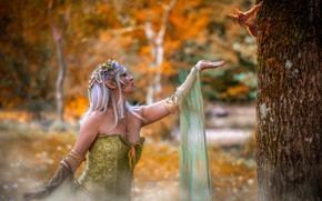 Picture autumn, forest, girl, flowers, nature, pose, background, tree, foliage, woman, elf, hands, makeup, dress, fairy, ...