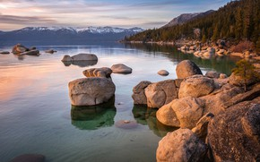 Picture sea, forest, sunset, mountains, reflection, stones, shore, forest, sunset, boulder