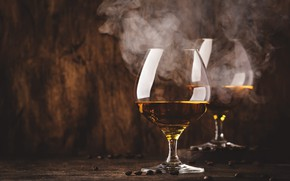 Picture wine, smoke, Board, glasses, couples, alcohol, cognac, whiskey, coffee beans