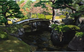 Picture Park, stream, Japan, wooden bridge, green leaves, summer day, stones in water, by Sasaki112