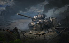 Wallpaper War, Art, Tank, Art, Tank, World of Tanks, Caernarvon Action X, British Tier VIII, Andrey ...