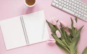 Picture flowers, tea, handle, tulips, Notepad, keyboard