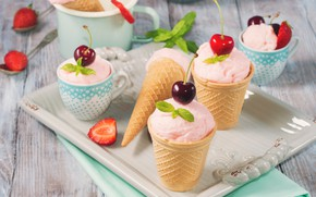 Picture cherry, strawberry, ice cream, dessert, strawberry, waffle Cup