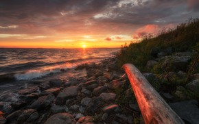 Picture sea, the sky, sunset, stones, shore