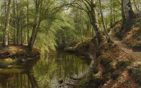 Picture 1918, Danish painter, Peter Merk Of Menstad, Peder Mørk Mønsted, Danish realist painter, The Creek …