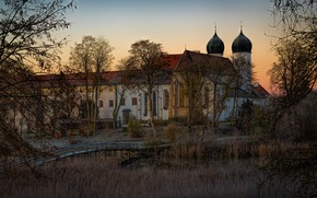 Picture autumn, grass, light, trees, branches, lake, thickets, shore, view, Windows, the evening, morning, Germany, Church, …