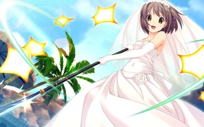 Picture palm trees, corset, veil, peak, wedding dress, blue sky, visual novel, gloves elbow, взмах меча, …