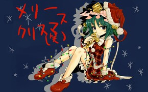 Picture snowflakes, garland, green hair, blue background, art, bells, white fur, Touhou Project, Project East, the …