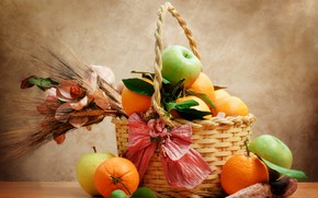 Picture basket, apples, oranges, still life