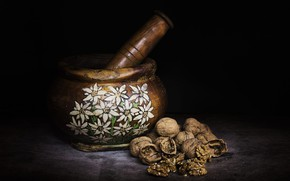 Picture the dark background, black background, nuts, still life, shell, items, pistil, mortar, walnuts