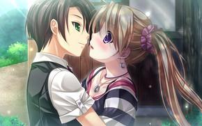 Picture girl, romance, pair, guy, Tsukumo No Kanade
