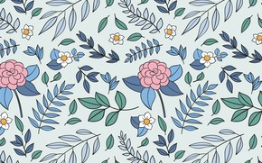 Picture flowers, background, pattern, vintage