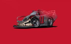 Picture Auto, Minimalism, Machine, Teeth, Background, Car, Art, NASCAR, Illustration, Transport, Grin, Vehicles, Creatures, Transport, Transport …