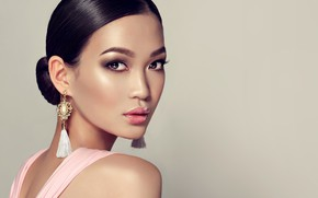 Picture look, background, portrait, earrings, makeup, brunette, hairstyle, Asian, beauty