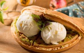 Picture ice cream, dessert, waffles
