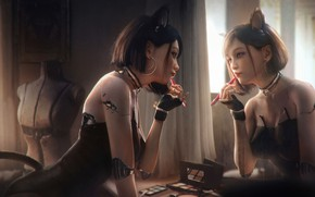 Picture girl, reflection, mirror, cyborg, tian zi