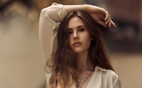 Picture look, decoration, pose, background, model, portrait, makeup, hairstyle, blouse, brown hair, bokeh, JB Files