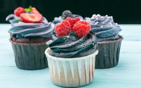 Picture raspberry, strawberry, cream, cupcakes