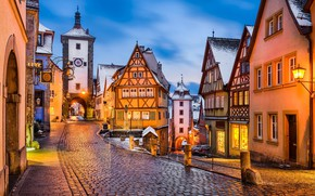 Wallpaper winter, snow, the evening, Germany, lights, Germany, Medieval town, Rothenburg, Rothenburg