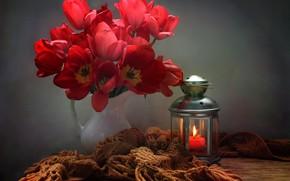 Picture flowers, table, candle, scarf, lantern, tulips, pitcher, Kovaleva Svetlana, Svetlana Kovaleva